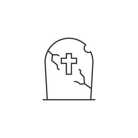 rest in peace: Tomb stone icon in thin outline style. Monument dead Halloween spooky
