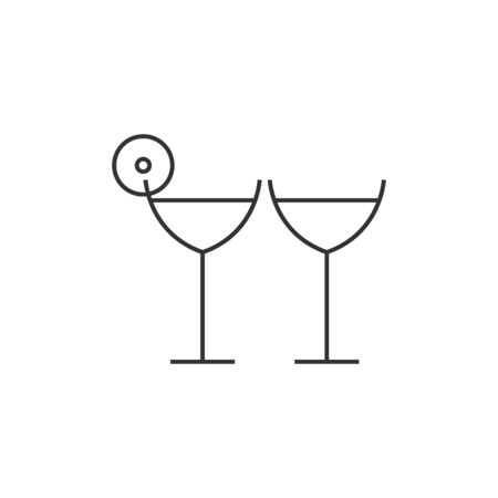 happy couple: Wine icon in thin outline style. Romantic, couple Illustration