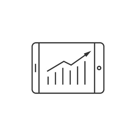 lcd display: Arrow chart icon in thin outline style. Digital, display, tablet, phone Illustration