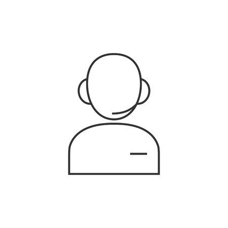 communication icons: Customer service icon in thin outline style. Business communication help desk avatar Illustration