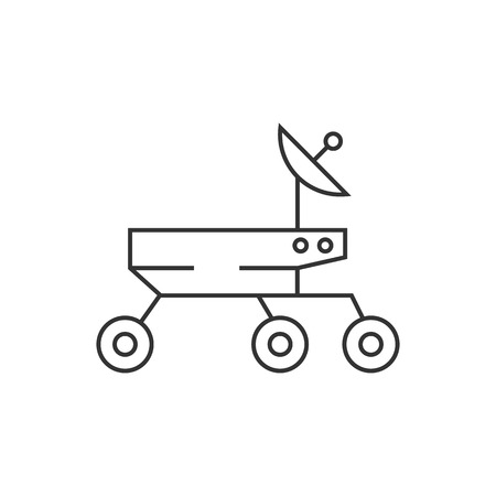 astronautics: Space rover icon in thin outline style. Vehicle, exploration, planet surface Illustration