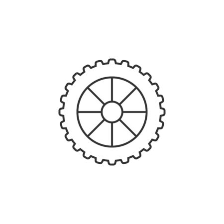 Motorcycle tire icon in thin outline style. Motorcycle motorbike wheel transportation offroad terrain Illustration