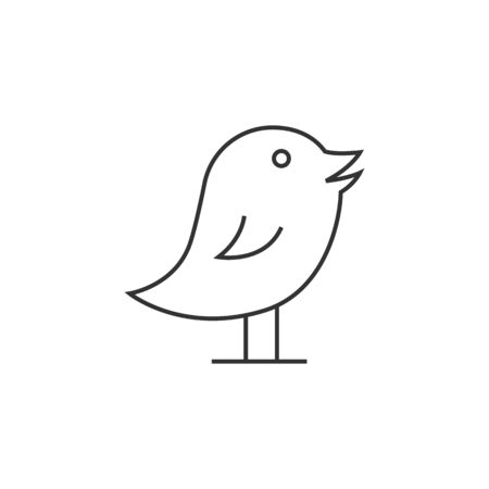 online: Bird icon in thin outline style. Tweet social media networking promotion chirps Illustration