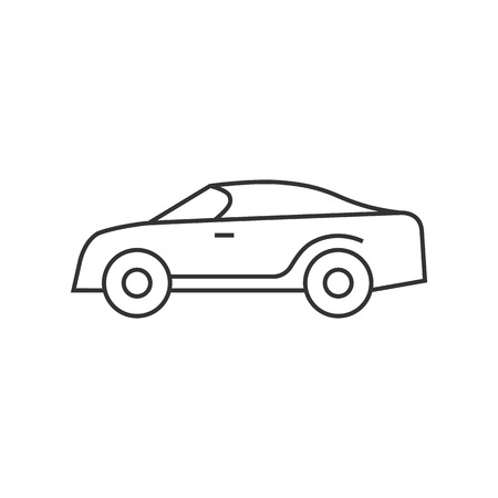 engine: Car icon in thin outline style. Sedan, luxury
