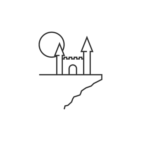 building: Dark castle icon in thin outline style. Halloween symbol path moon building spooky fear Illustration