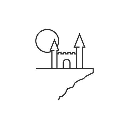 precipice: Dark castle icon in thin outline style. Halloween symbol path moon building spooky fear Illustration