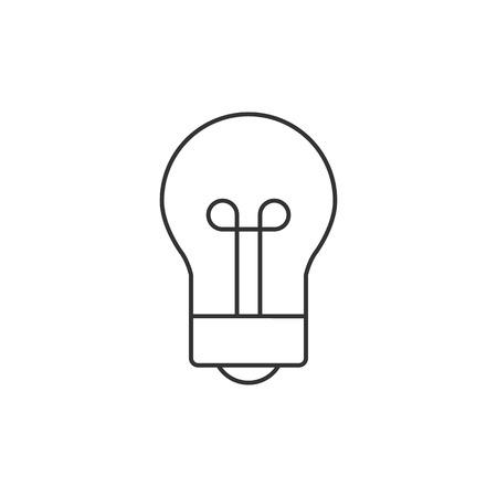 lamp light: Light bulb head icon in thin outline style. Businessman idea imagination solution inspiration Illustration
