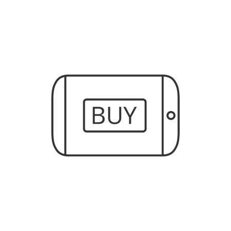 telephone: Tablet icon in thin outline style. Buy now shopping online shop e-commerce sale Illustration