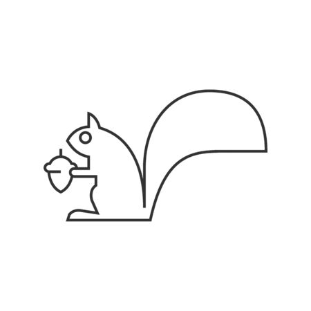 domestic: Squirrel icon in thin outline style. Mammal animal