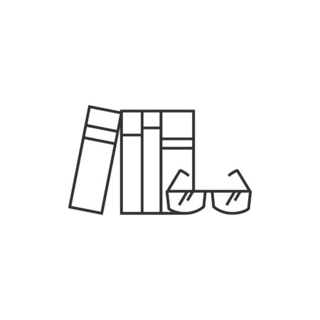 student with books: Books and glasses icon in thin outline style. Education student college research library