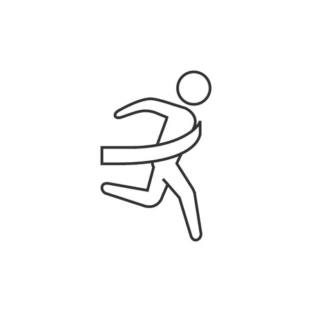Finish line icon in thin outline style. Sport runner marathon competition winning champion Olympic Olympian Illustration