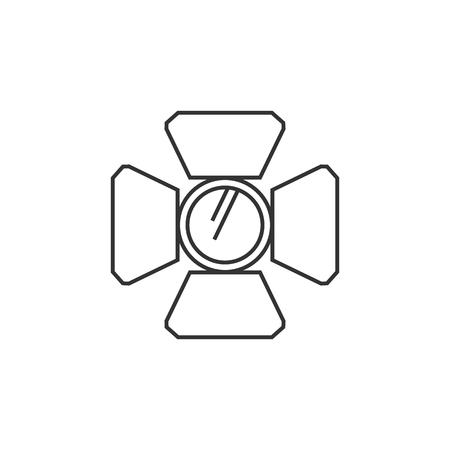 lamp light: Studio lighting icon in thin outline style. Photography concert instrument lamp halogen Illustration