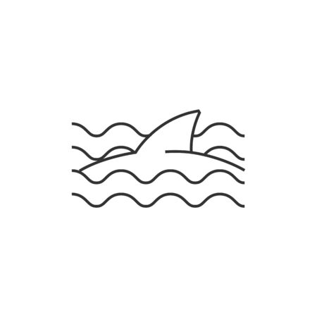 encounter: Shark icon in thin outline style. Sea animal dangerous encounter beach Illustration