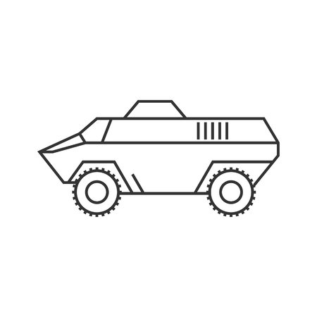 heavy: Armored vehicle icon in thin outline style. Military army transportation bullet proof
