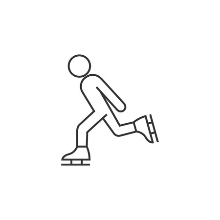 skating on thin ice: Ice skating icon in thin outline style. Illustration