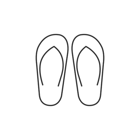 tropical: Slipper sandal icon in thin outline style. Beach wear relaxation casual rubber