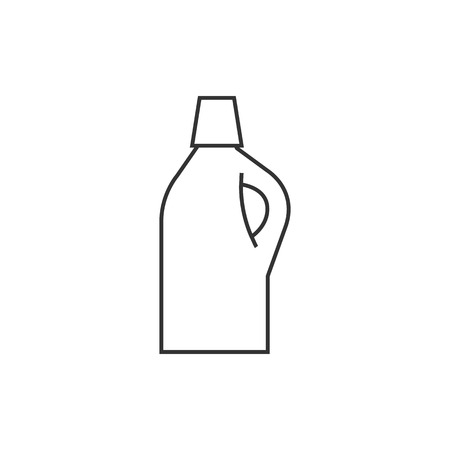 Detergent bottle icon in thin outline style. Laundry perfume softener soap Illustration