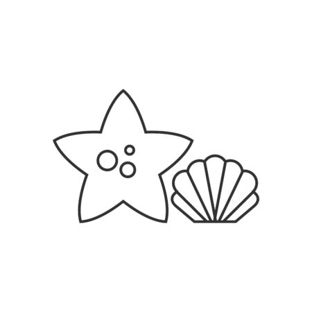 Star fish icon in thin outline style. Sea animal creature cute Illustration