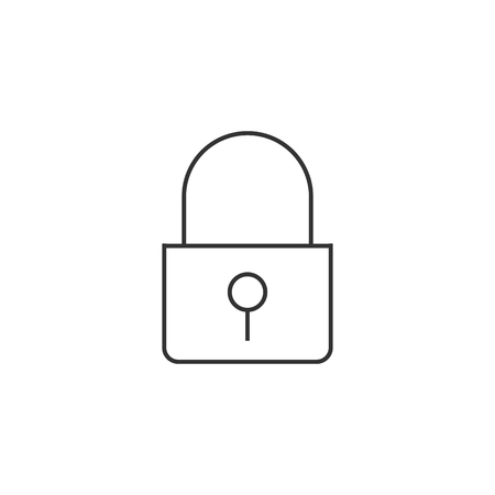 security symbol: Padlock icon in thin outline style. Finance, money, safety, protection Illustration