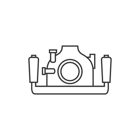 case: Underwater camera icon in thin outline style. Photography sea water diving animal documentary