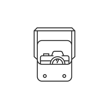 carrying: Camera bag icon in thin outline style. Case luggage carrying strap Illustration