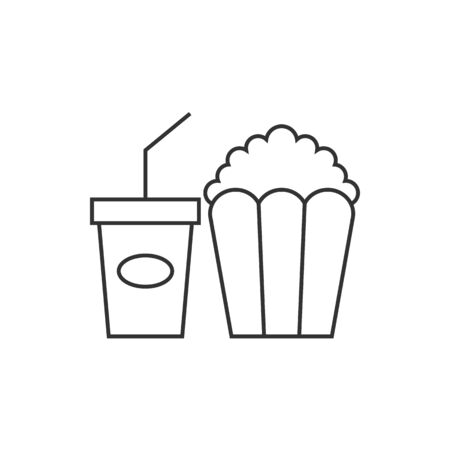 movie film: Popcorn icon in thin outline style. Movie food snack style theater trend Illustration