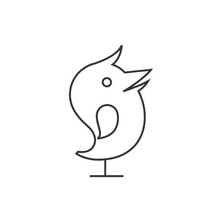 tweet icon: Bird icon in thin outline style. Tweet social media networking promotion chirps Illustration