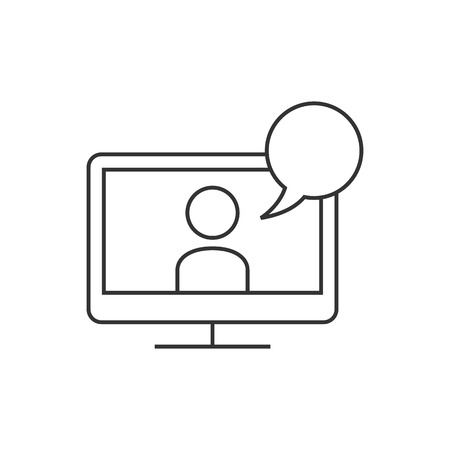 communication icons: Webinar icon in thin outline style. E-learning internet university college study distance connection