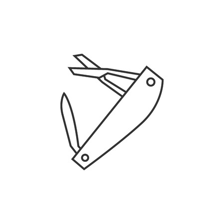 pocket knife: Multi tool icon in thin outline style. Multifunction camping survival multipurpose sharp repair