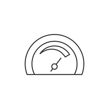 car: Dashboard icon in thin outline style. Control panel, odometer, speedometer Illustration