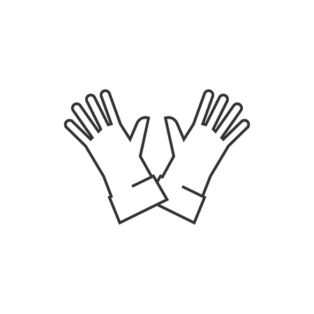 home icon: Cleaning glove icon in thin outline style. Equipment rubber household bathroom chemical