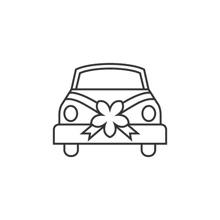 rose: Wedding car icon in thin outline style. Illustration