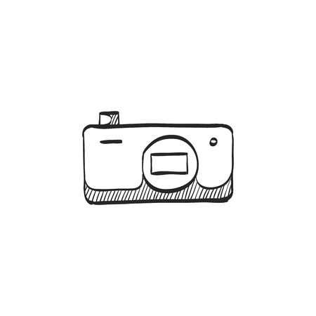 stealthy: Camera icon in doodle sketch lines. Photography picture electronic imaging pocket compact affordable cheap Illustration