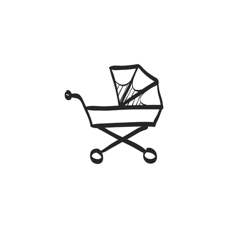 supermarket: Shopping cart icon in doodle sketch lines. Buying, ecommerce