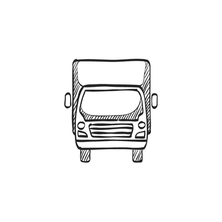 transport truck: Truck icon in doodle sketch lines. Freight, transport, logistic, delivery Illustration