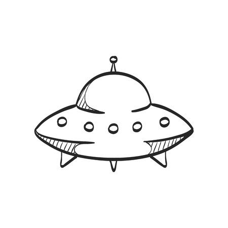 platillo volador: Icono de platillo volador en líneas de bosquejo doodle. Extranjero, espacio exterior, invasión de tierra