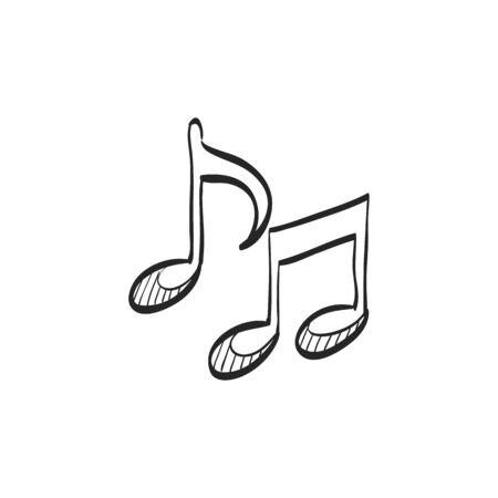 Music notes icon in doodle sketch lines. Musical sheets sign crotchets quaver Illusztráció
