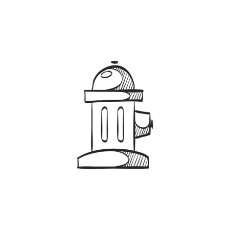 spigot: Hydrant icon in doodle sketch lines. Fireman equipment street water source pressure