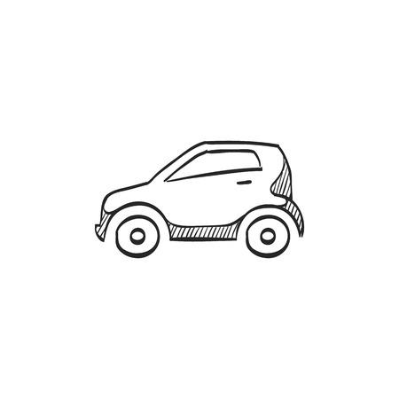 Small car icon in doodle sketch lines. Vectores