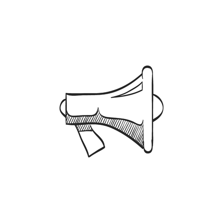 mobile website: Megaphone icon in doodle sketch lines. Loudspeaker scream demonstration propaganda