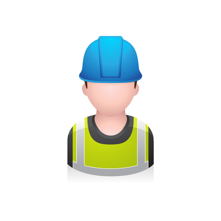 hard: Construction worker avatar icon in colors. Illustration