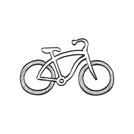 low tire: Low rider bicycle icon in doodle sketch lines. Sport transportation park city urban vintage retro