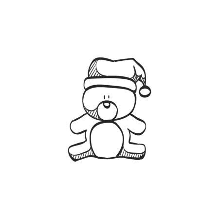 Doodle Weihnachtsfeier.Teddy Hält Herzform Ikone In Doodle Skizze Linien Valentine Liebe