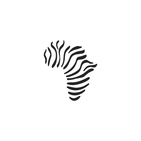 Africa map striped icon in doodle sketch lines. Continent safari explore travel journey Illustration