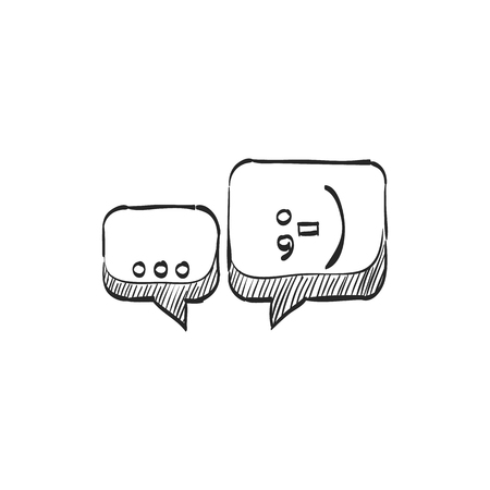 communication icons: Chatting icon in doodle sketch lines. Text bubbles communication business talking people hello hi greeting