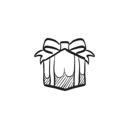 Gift box icon in doodle sketch lines. Prize birthday Christmas holiday