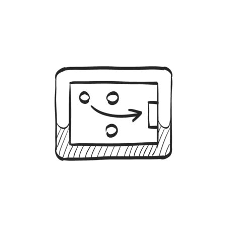 Strategy game icon in doodle sketch lines. Playing planning mental tactic steps Illustration