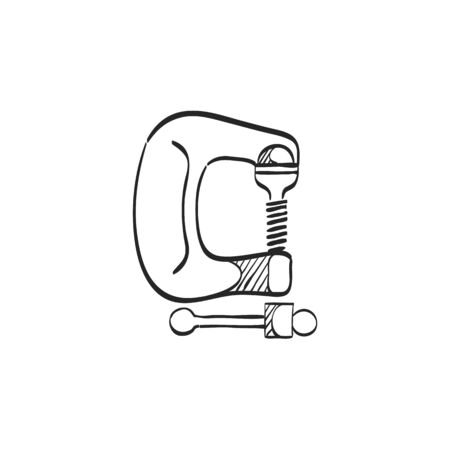 Clamp tool icon in doodle sketch lines. Industrial mechanic repair construction building automotive Illustration