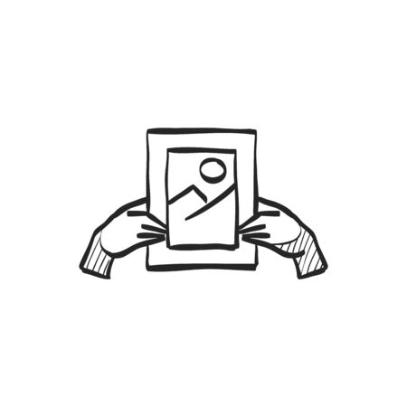 Hand holding painting icon in doodle sketch lines. Business concept auction bidding masterpiece artwork validate Illustration