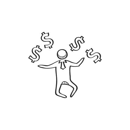 Businessman money icon in doodle sketch lines. Business wealth dollar sign happy jump